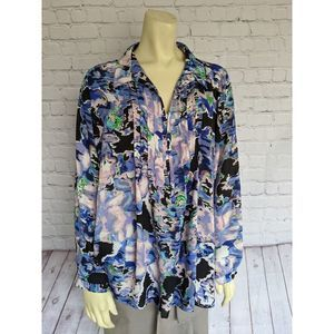 ny collection L Multi Color Floral Blouse